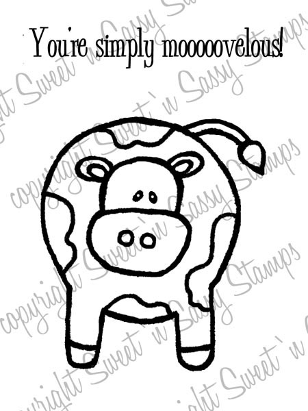 Mooovelous Cow Digital Stamp