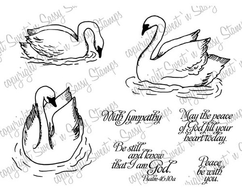 Peaceful Swans Digital Stamp