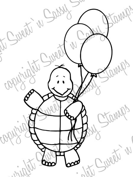 Tommy Turtle's Balloons Digital Stamp