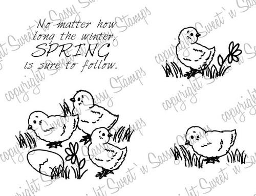 Spring Chicks Digital Stamp