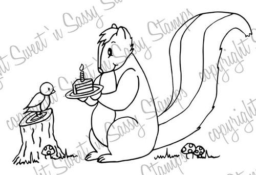Sylvester Skunk Shares His Cake Digital Stamp