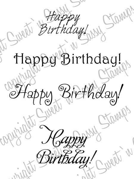 Feminine Birthday Greetings Digital Stamp