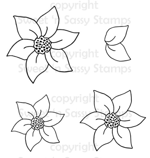 6 Petal Flowers Digital Stamp