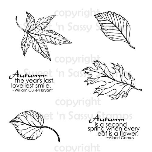 Autumn Leaves Digital Stamp Set