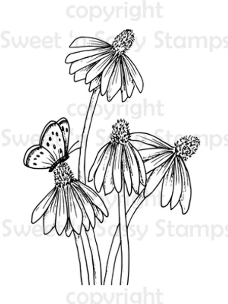 Coneflowers and Butterfly Digital Stamp