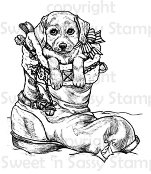 Christmas Puppy Digital Stamp