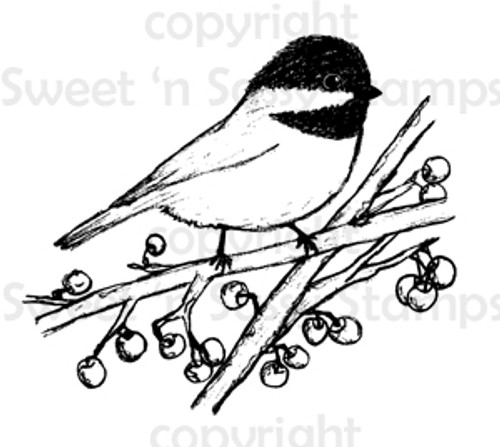 Chickadee & Berries Digital Stamp