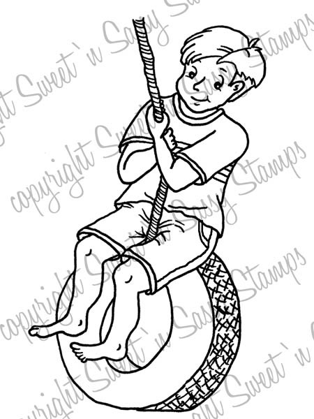 Caleb's Tire Swing Digi Stamp