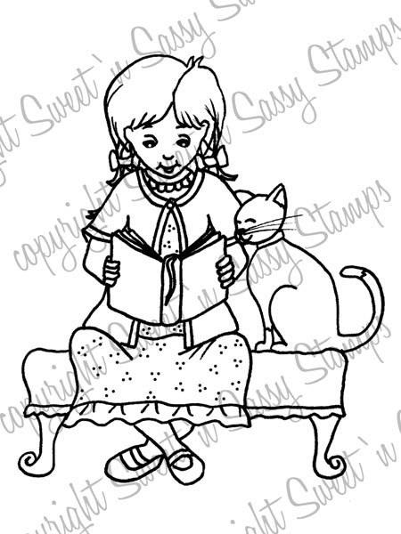 Lizzy Reading to Sassy Digi Stamp
