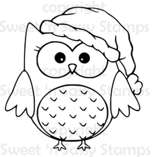 Santa Owl Digital Stamp