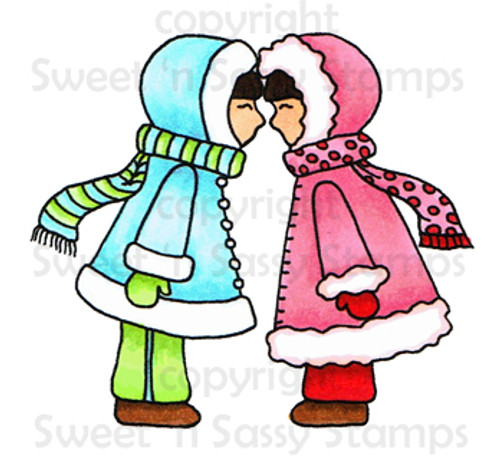 Eskimo Kisses Colored Digital Stamp