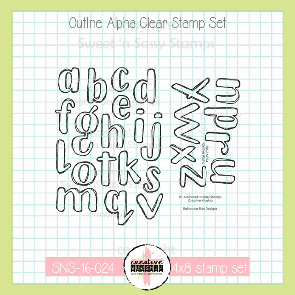 Outline Alpha Creative Worship Bible Journaling Faith Alphabet Stamp Set