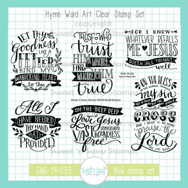 Hymn Word Art Clear Stamp Set