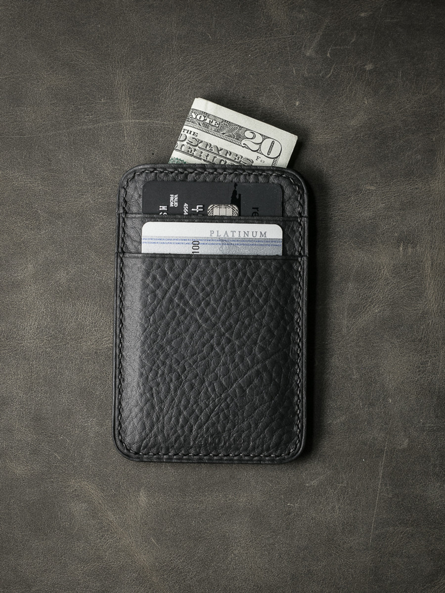 """Maddox"" Pebbled Black Slim Leather Wallet"