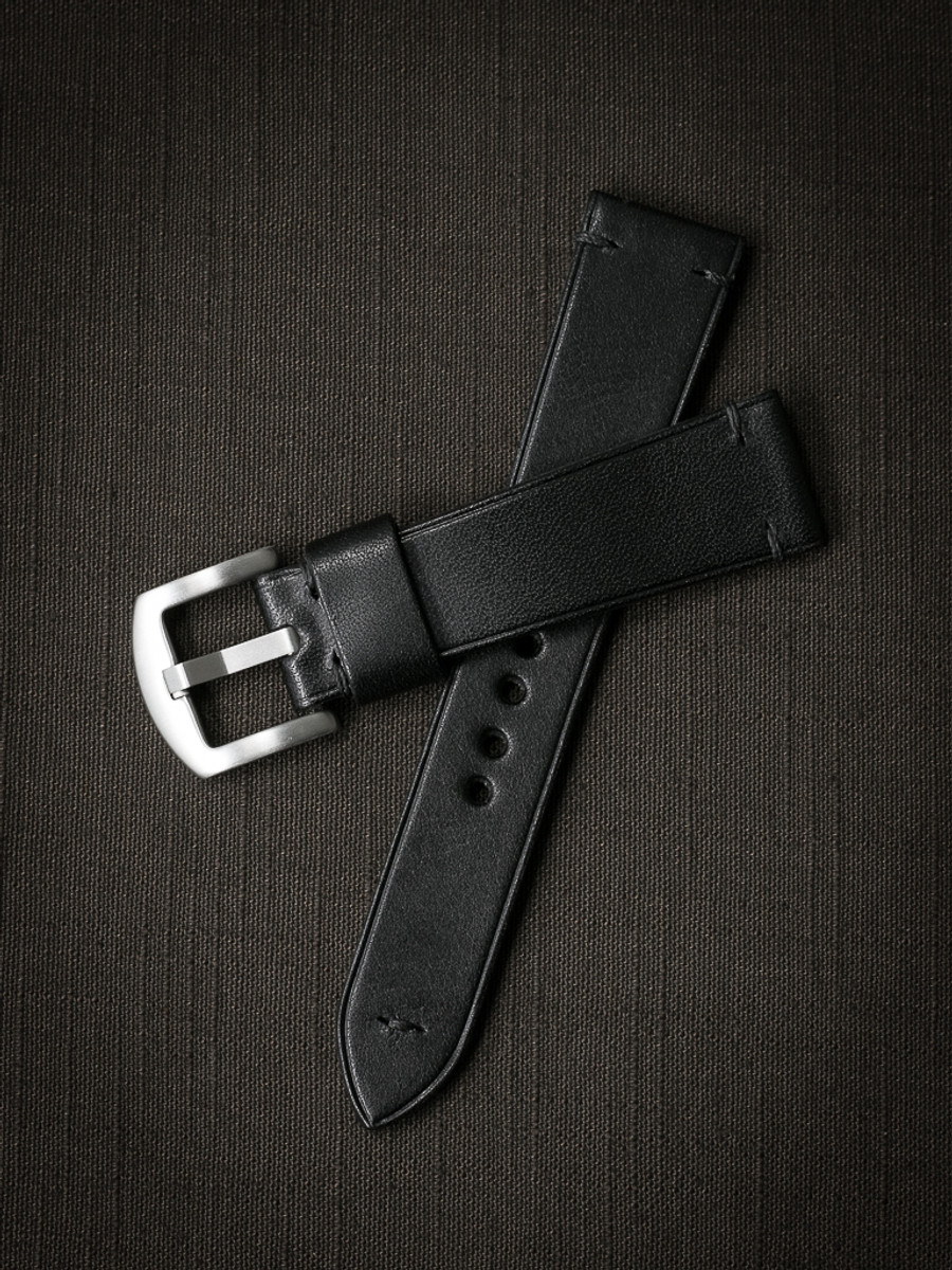"""Jono"" Black Leather Watch Strap"