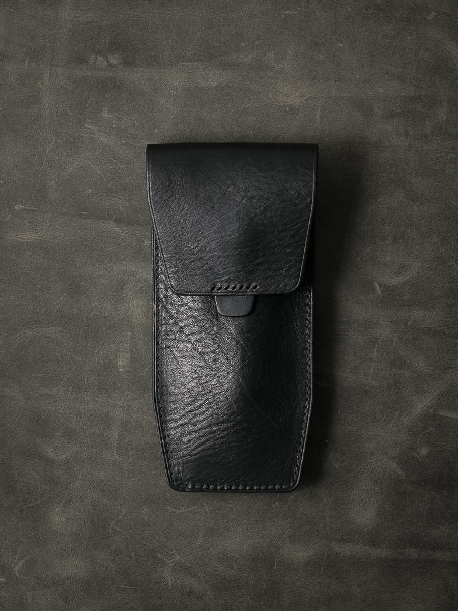 """Kingsford"" Sleek Black Leather Watch Pouch"