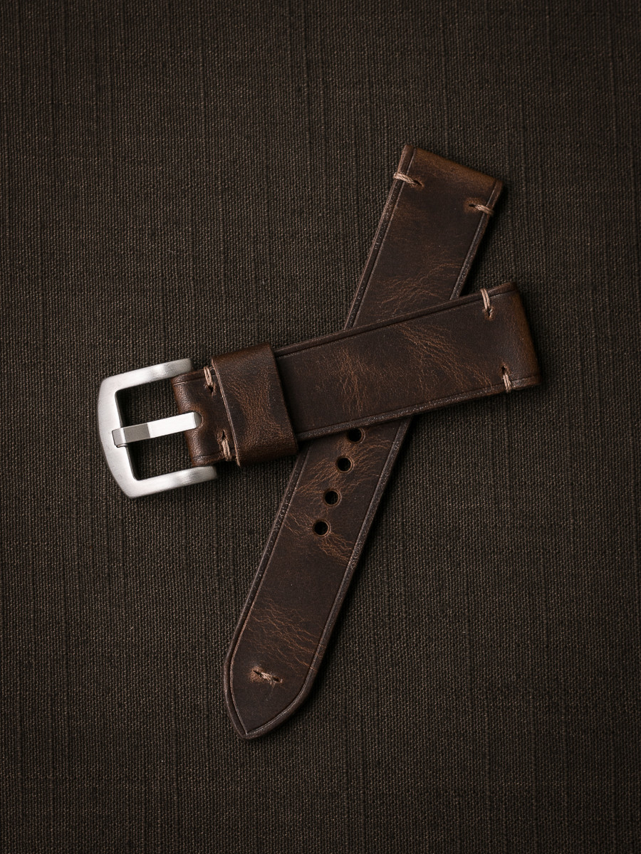 """Blisk"" Vintage Aviator Brown Leather Watch Strap"