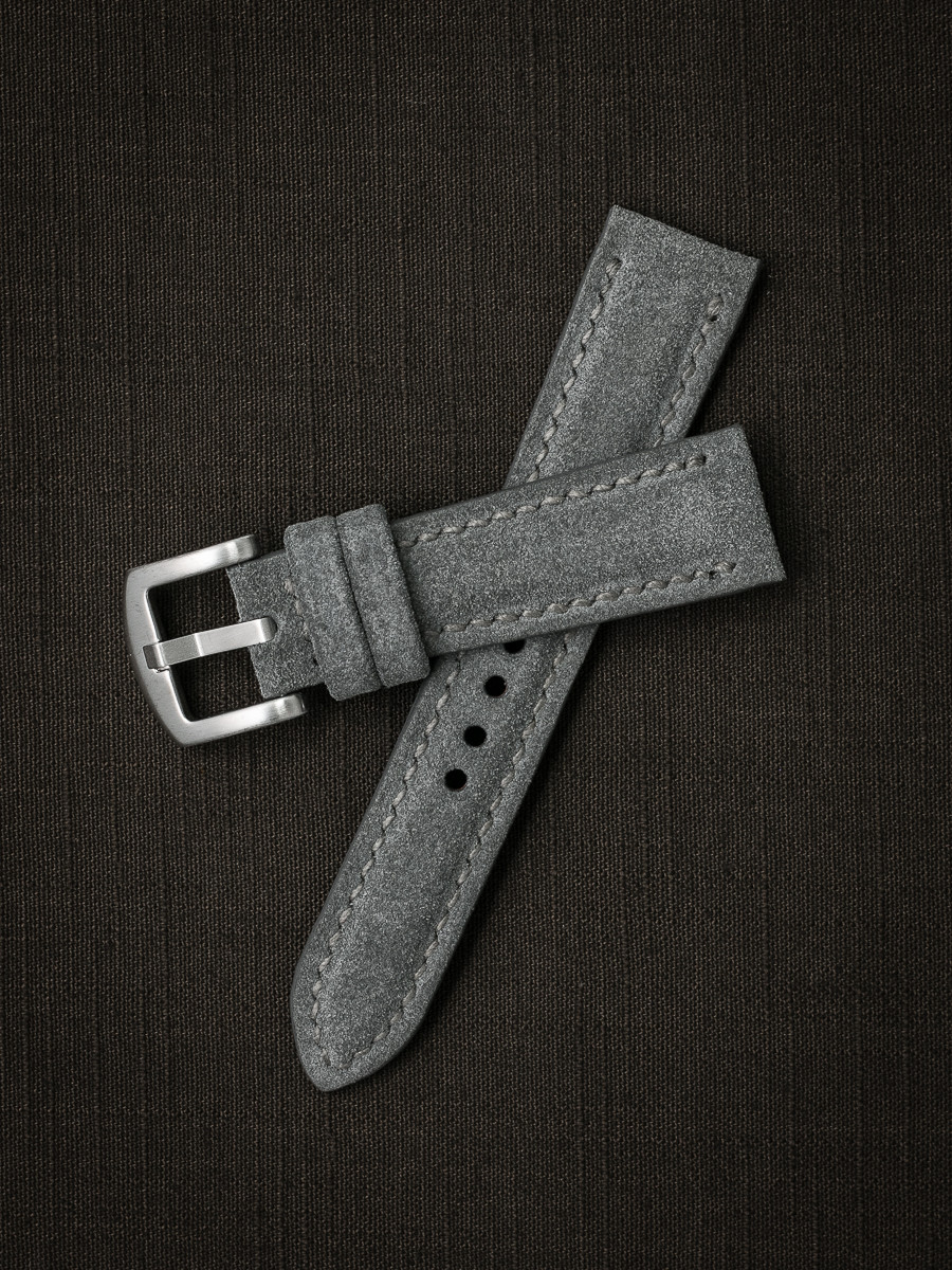 Grey suede handcrafted leather watch strap