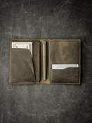 """Magellan"" Rustic Brown Oil Tan Leather Double Passport Wallet"