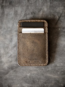 """Maddox"" Brown Oil Tan Handmade Slim Leather Wallet"