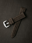 """""""Hutchison"""" Chocolate Brown Padded Suede Watch Strap"""