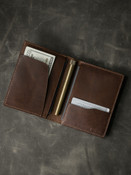 """Magellan"" Walnut Brown Leather Passport Wallet"
