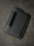 Black leather notebook sleeve