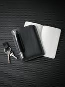 """Dante"" Pebbled Matte Black Leather Notebook Sleeve"