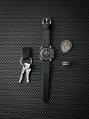 Dane black textured handcrafted leather watch strap