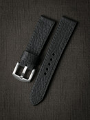 """Dane"" Pebbled Matte Black Leather Watch Strap"