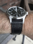 IWC Pilot handcrafted black leather watch strap