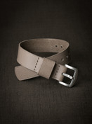 """Rockport"" Grey Beige Leather NATO Watch Strap"