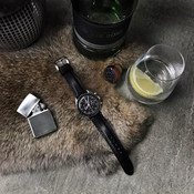 """""""Cliff"""" Black Padded Leather Watch Strap"""