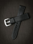 Bas and Lokes black leather watch strap