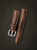 Vintage russet handcrafted leather watch strap