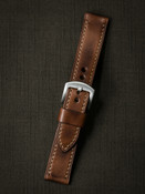 vintage tan handcrafted leather watch strap