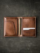 Magellan Russet vintage tan handcrafted leather double passport wallet