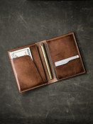 """Magellan"" Vintage Russet Leather Passport Wallet"