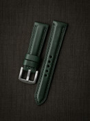 """""""Digby"""" Racing Green Padded Leather Watch Strap"""