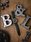 """""""Dean"""" Racing Green Leather Watch Strap"""