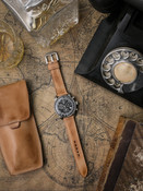 Handcrafted natural leather watch strap
