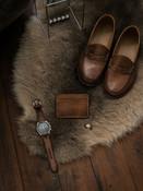 """Ford"" Russet vintage tan handcrafted leather slim wallet"