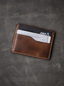 """Ford"" Russet vintage tan handcrafted leather slim wallet"