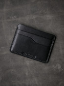 """Ford"" Black handcrafted leather slim wallet"