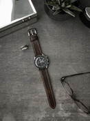 Bas and Lokes vintage aviator brown leather watch strap