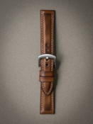 """Warrington"" Vintage Bourbon Padded Leather Watch Strap"