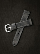 Grey handcrafted leather watch strap