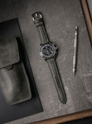 """""""Forbes"""" Vintage Grey/Green Padded Leather Watch Strap"""