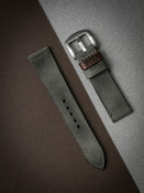 """Hunter"" Vintage Grey Green Leather Watch Strap"
