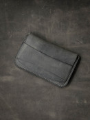 """Grant"" Grey/Green Leather Flap Wallet"